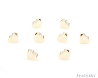 Metallic Heart Bead - High Polished Gold Heart Beads / 6mm x 7mm / PG002-B (8pcs)