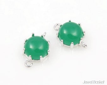 2pcs - Green Color and Gold Framed Round Connector / green / rhodium plating / glass / 9mm x 14mm / SGRS003-C3