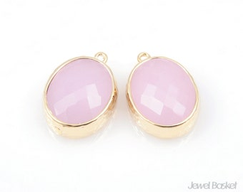 2pcs - Ice Pink Color and Gold Framed Glass Oval Pendent / ice pink / pink / 16k gold plated / glass / 12 x 16mm / SPKG009-P