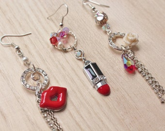 Rose Bullet Trio Earrings - Moulin Rouge inspired jewellery - with enameled red lipstick and lips charms, crystals & cream rose cabochon