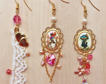 Love for Two Trio Earrings - romantic & whimsical jewellery - with vintage Holly Hobbie cabochons, lace and freshwater pearls