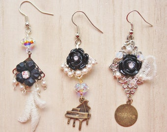 Music of the Night Trio Earrings - romantic Phantom of the Opera inspired jewelry - black rose cabochons, lace & brass piano charm