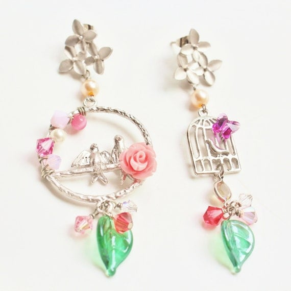 Lovebirds' Story Statement Earrings - romantic & whimsical jewelry - matte silver floral earstuds, pink rose cabochon and lovebirds charm
