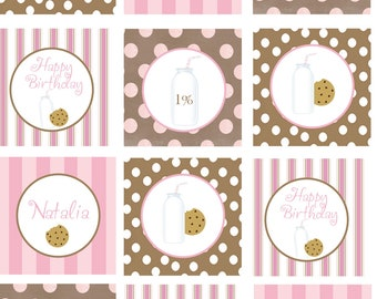 DIY Printable Milk and Cookies Party Cupcake Toppers Pink or Blue