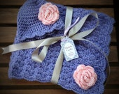 Crochet Baby Blanket with Matching Hat - purple