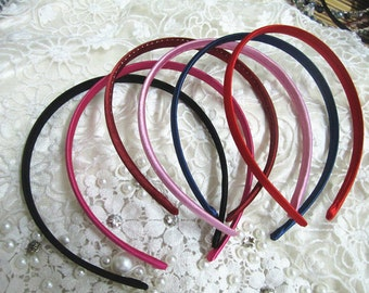 24pcs Mixed color (5 color)plastic Headband With Cloth Covered 9mm Wide
