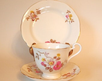 Vintage Radfords Bone China Teacup Trio with Pink Yellow and White Flowers- England