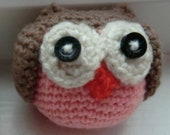 Pincushion Owl Amigurumi - Brown and Pink