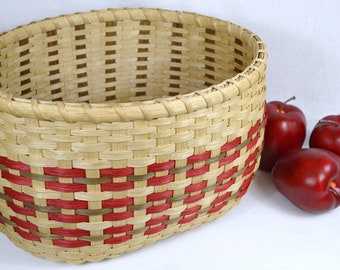 Double Wall Handwoven Reed Table Basket, Fruit Basket, or Storage with Smoke and Red Accent