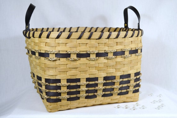 Handwoven reed or wicker storage basket with by for Wicker reed