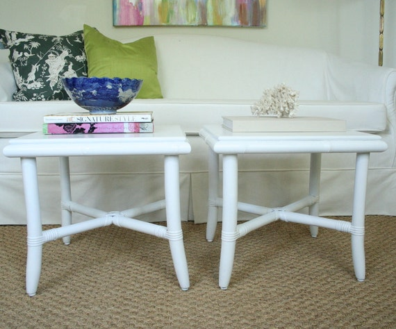 Pair of Faux Bamboo Tables Mid Century Modern Hollywood Regency