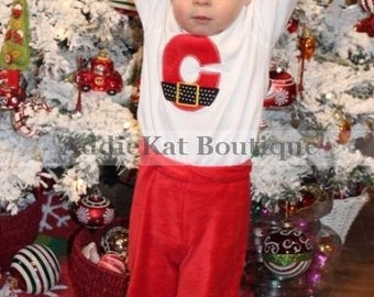 Personalized Santa Claus Outfit with Faux Fur-  Matching Girl's Outfit Available - Twins - Sibling Set