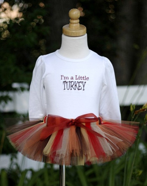 Thanksgiving I'm a Little Turkey Sewn Tutu Outfit - Fall Colors