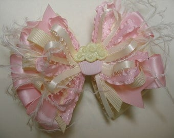 Happy Birthday Party Hair Bow Large Over the Top Big Boutique Pink Cupcake Ivory Cream