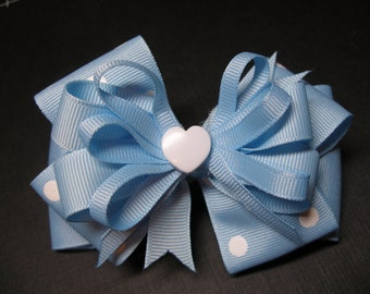 I Love School Sweet Hearts Hair Bow Baby Blue White Polka Dot Unique Boutique Toddler Girl Uniform