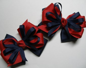 Back to School Hair Bows Pig Tail Pair Navy Blue USA Red School UNIFORM Toddler Girl Grosgrain set of 2