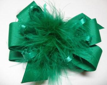 Green Princess Hair Bow Emerald Cristmas Over the Top Marabou Boutique Toddler to big Girl