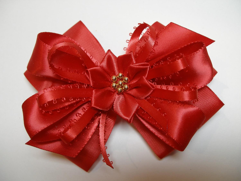 Big Christmas red Hair Bow Large Satin Grosgrain by HareBizBows