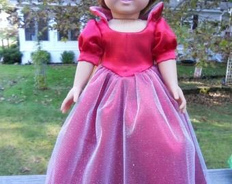Snow white Christmas red satin ballgown