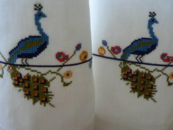 tray cloths napkins vintage linen cross stitch peacocks