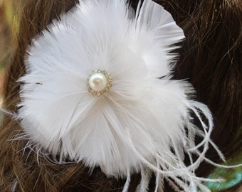 White color  feather  clip with center buckle