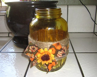 Fall themed upcycled vase