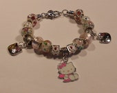 Hello Kitty Charm Bracelet snake chain white gold plated