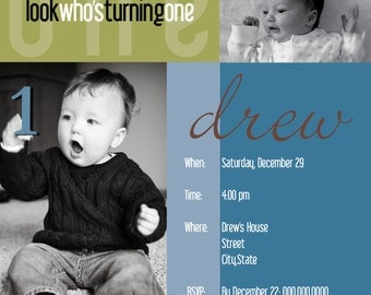 Look Who's Turning One square invitation
