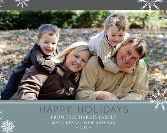 Happy Holidays Blue and Gray Snowflake Photo Card (1 photo)