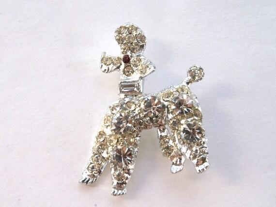 Rhinestone Pave Poodle Brooch Dog Pin