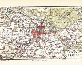 1886 City of Dresden, Saxony, Germany and its Surroundings in the 19th Century Antique Map