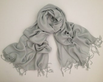 LIGHT GRAY pashmina scarf, silver pashmina, silver shawl, gray pashmina, shawl gray, shawl silver, wrap silver scarf, bridesmaid shawl