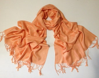 orange-peach pashmina scarf, orange pashmina shawl, orange fashion scarf, pashmina scarf, pashmina shawl, scarf, shawl