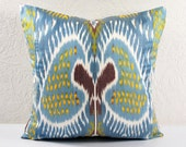 BLUE IKAT pillows 20x20 Decorative Ikat Throw Pillows 20x20 Home Decor Pillow a541-1aa3