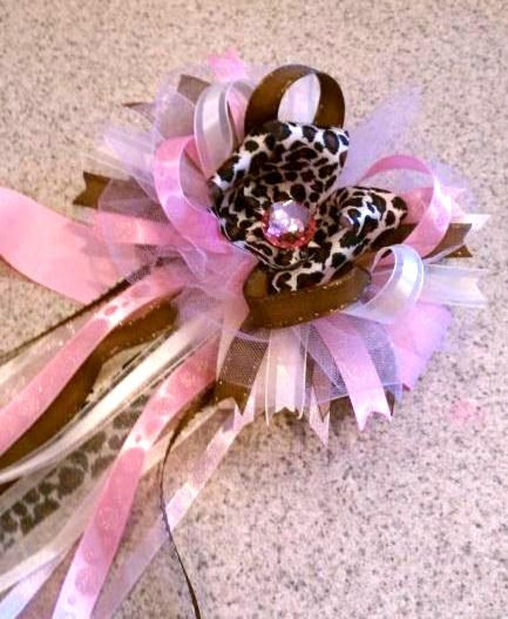 leopard print baby shower corsage