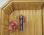 "SALE. 3"" Tiny Kimono Ornament. ""Autumn Irises."" Fabric Origami Kimono. Holiday Decoration. Oxblood Rust Indigo. Hang it, Frame it, Give it."