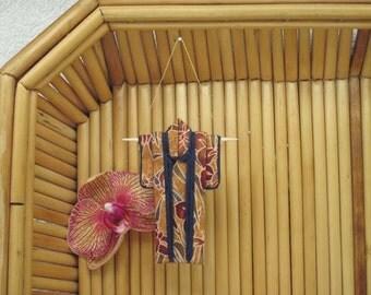 "3"" Tiny Kimono Ornament. ""Autumn Irises."" Fabric Origami Kimono. Holiday Decoration. Oxblood Rust Indigo. Hang it, Frame it, Give it."