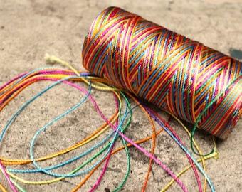 neon rainbow: Unwaxed nylon cord , 10 meters for macramé, Jewelry making, etc.