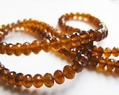 AAA Garnet Rondelles, Spessartite Rondelles, Garnet Beads, AAA, full Strand, 3.25-4mm, 16 inches