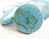 Turquoise Flat Briolettes, 32mm, Large, Round, 4 Beads