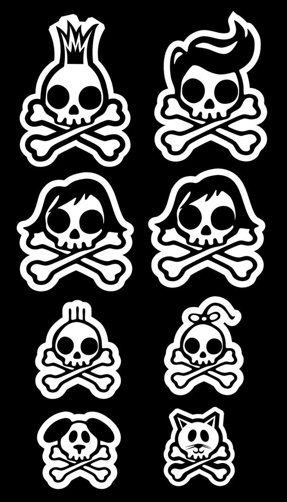 A Set Of 8 Skull Rockabilly Mohawk Family Decal Car Window