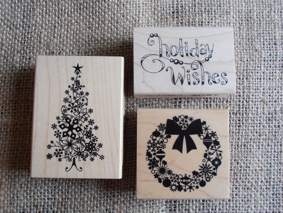 Rubber Christmas Stamps Mounted on Wooden Blocks - Set of 3 -Christmas Tree, Wreath, Holiday Wishes