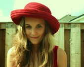 1940's Red Summer Hat