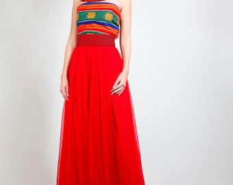 Kente/Chiffon Evening Gown - red, yellow, green tribal