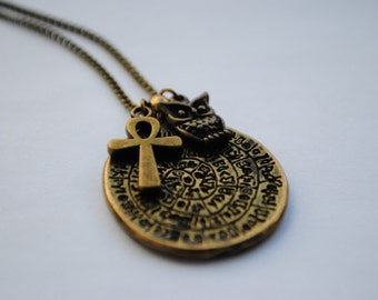 Discworld Ankh Morpork Terry Pratchett Antique Bronze Literature Necklace