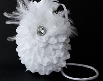Dance Bag, Unique White Satin & Ostrich Feather Purse With Sparkling Centerpiece - White Feather Dance Bag ~ Money Dance Bag