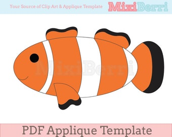 Fish - Clown Fish Applique Template PDF