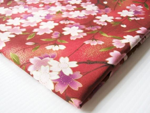 Red Blossom Kimono Cotton Fabric Red Pink White Purple Fabulous Sakura, Lady Dress, Blouse, Pillow Cover, Curtain, table cover, KM013,