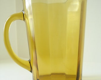 Mid Century Mod Amber Glass Water/Beer/Hostess Pitcher