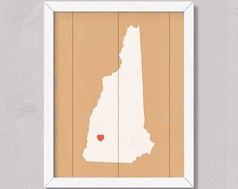 NEW HAMPSHIRE - Rustic Home Decor -16x20 Handmade Personalized Wood Sign - Custom Wall Art  - Wedding Bridal shower Housewarming Family gift